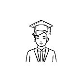Graduate student hand drawn sketch icon