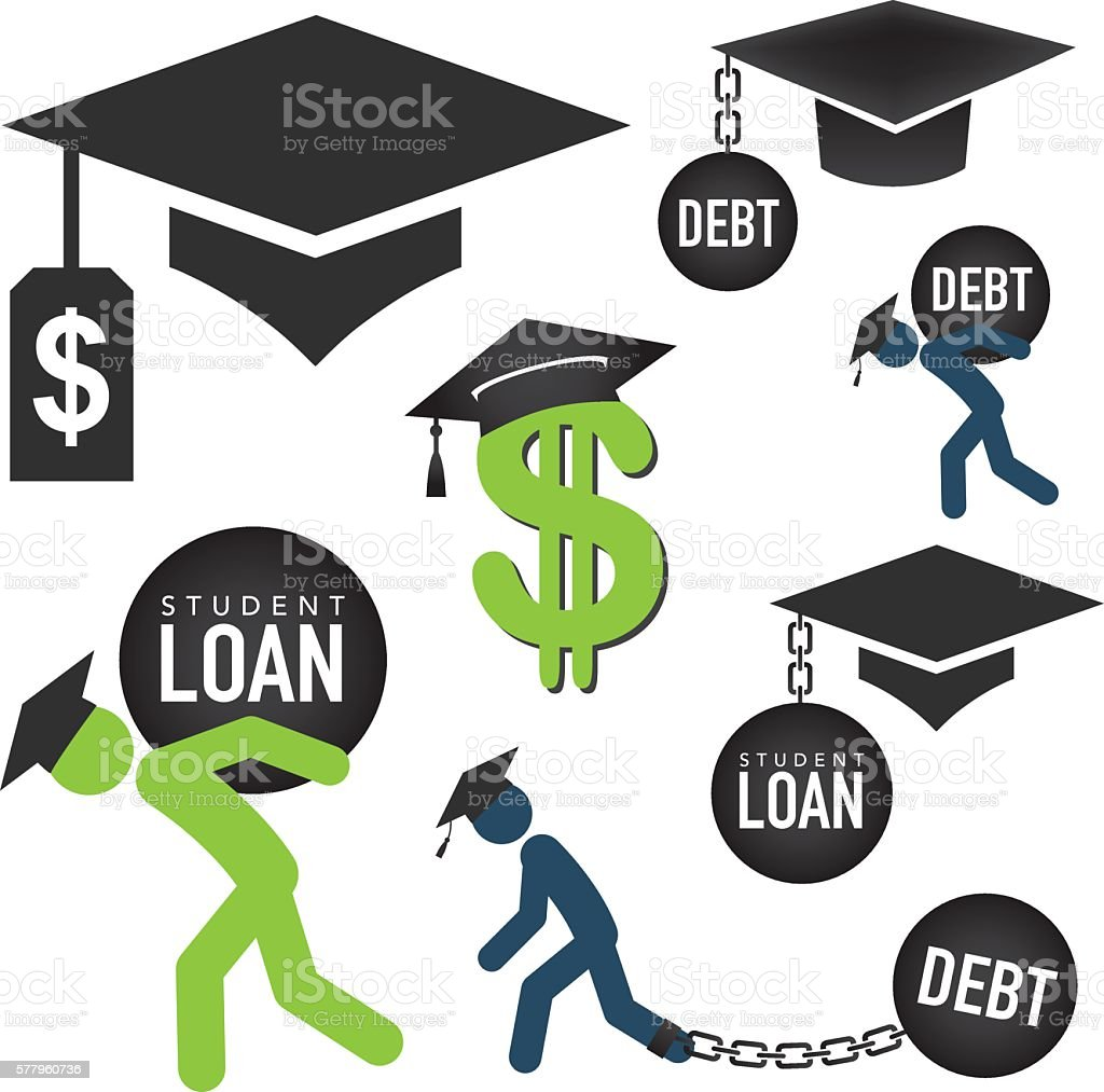 Graduate Student Loan Icon Set vector art illustration