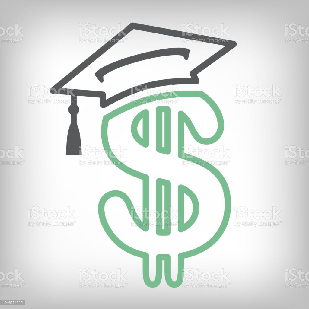 Graduate Student Loan Icon - Student Loan Graphics for Education Financial Aid or Assistance, Government Loans, and Debt vector art illustration