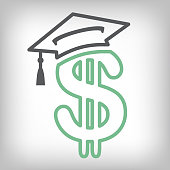 Graduate Student Loan Icon - Student Loan Graphics for Education Financial Aid or Assistance, Government Loans, & Debt