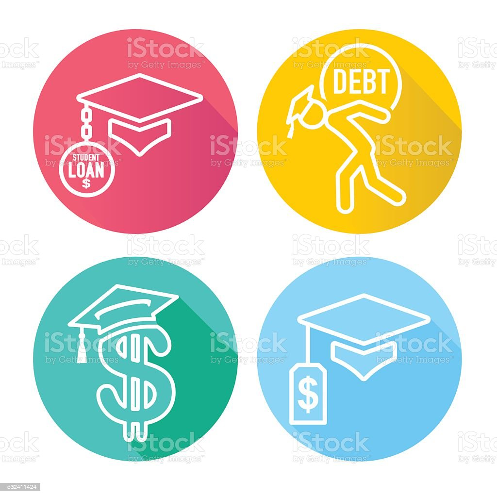 2016 Graduate Student Loan Icons vector art illustration