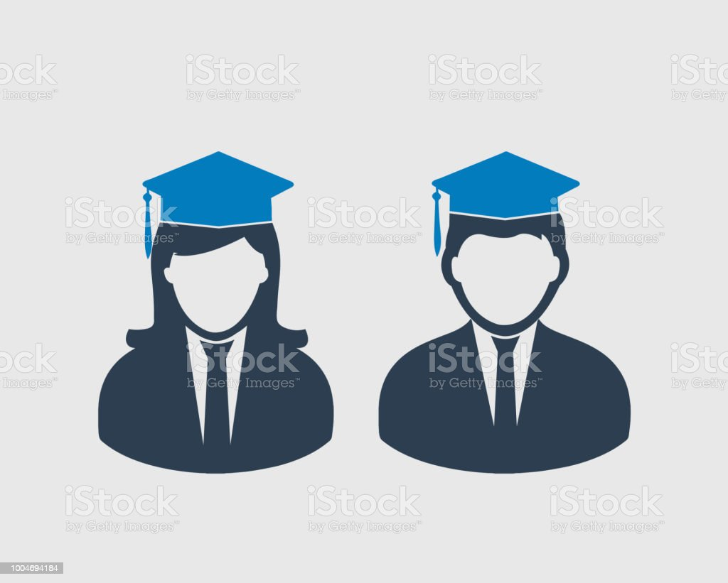 graduate students icon male and female symbol with graduation cap on