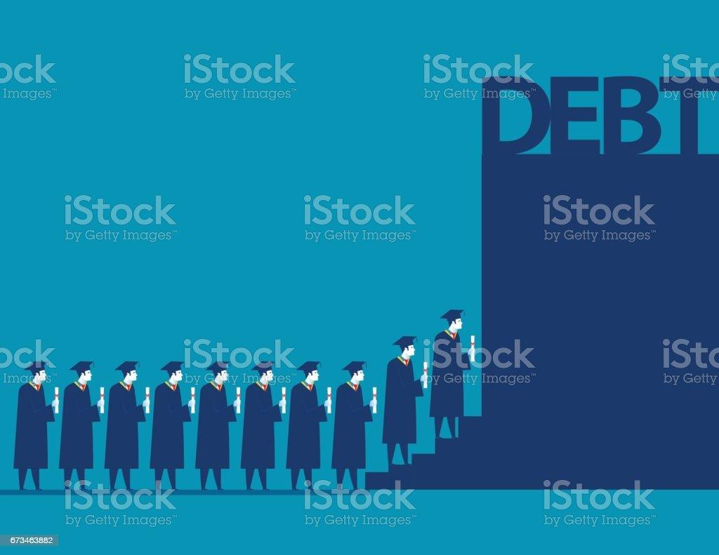 Graduate students walking into debt. Concept business debt illustration. Vector cartoon character and abstract vector art illustration