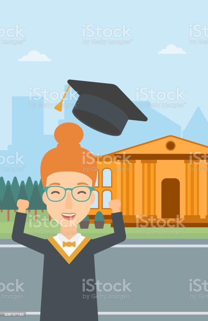 Absolventen Werfen Sie Seinen Hut Stock Vektor Art Und Mehr Bilder