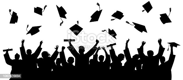 Graduated at university, college. Crowd of graduates in mantles, throws up the square academic caps. Cheerful people silhouette vector