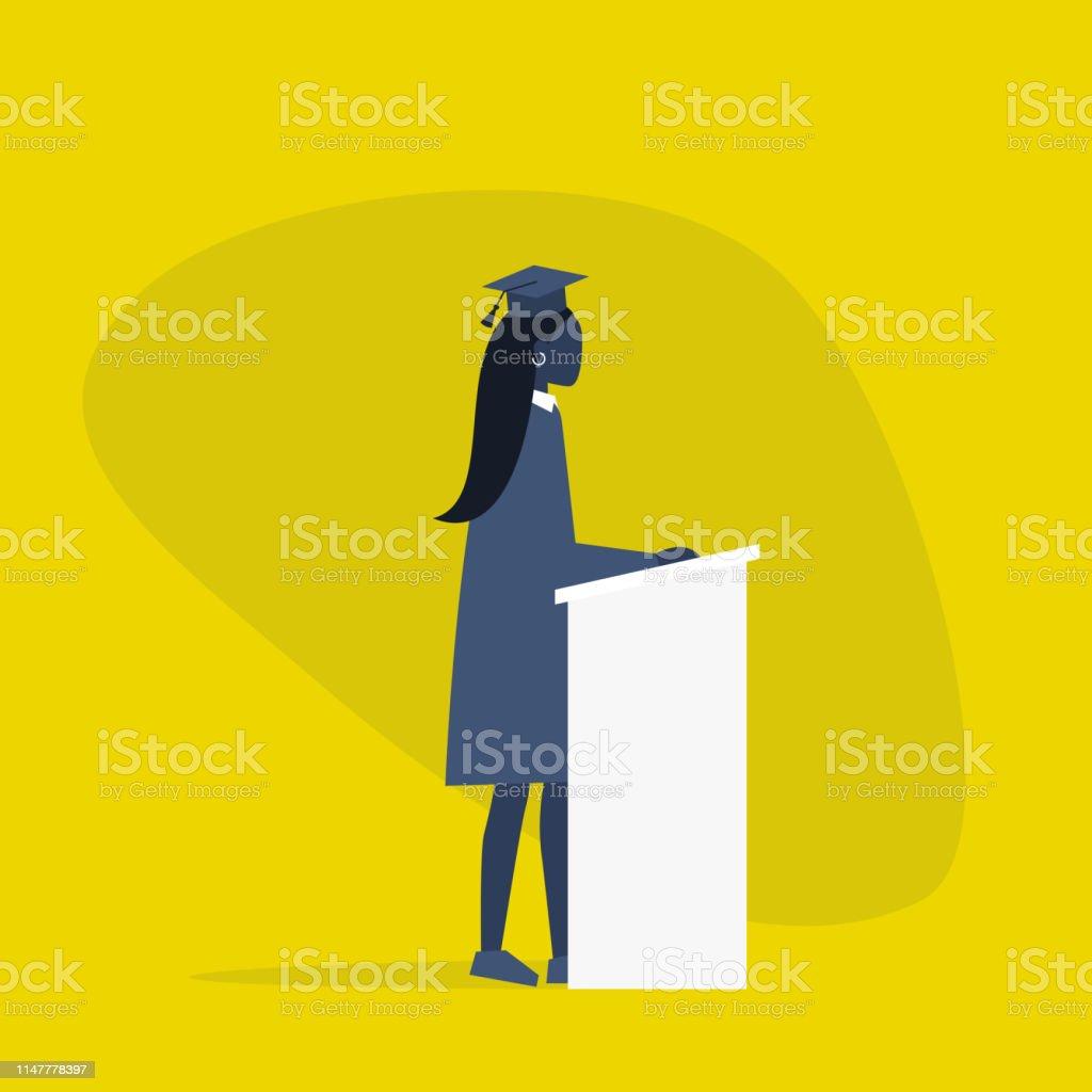 Afgestudeerd zwarte vrouwelijke student het dragen van een pet en een jurk. Karakter staande achter de tribune/platte bewerkbare vector illustratie, clip art - Royalty-free Afrikaanse etniciteit vectorkunst