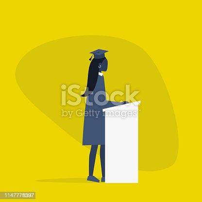 Graduated black female student wearing a cap and a gown. Character standing behind the tribune / flat editable vector illustration, clip art