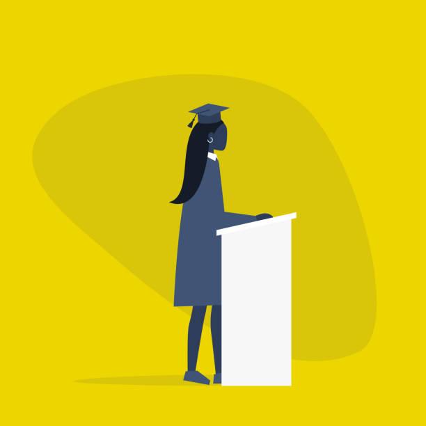 stockillustraties, clipart, cartoons en iconen met afgestudeerd zwarte vrouwelijke student het dragen van een pet en een jurk. karakter staande achter de tribune/platte bewerkbare vector illustratie, clip art - flat cap