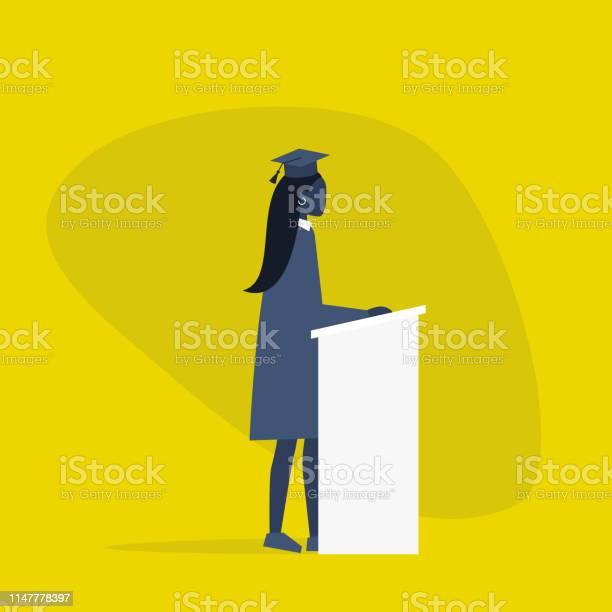 Afgestudeerd Zwarte Vrouwelijke Student Het Dragen Van Een Pet En Een Jurk Karakter Staande Achter De Tribuneplatte Bewerkbare Vector Illustratie Clip Art Stockvectorkunst en meer beelden van Afrikaanse etniciteit