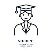 Graduated student editable stroke outline icon isolated on white background flat vector illustration. Pixel perfect. 64 x 64.