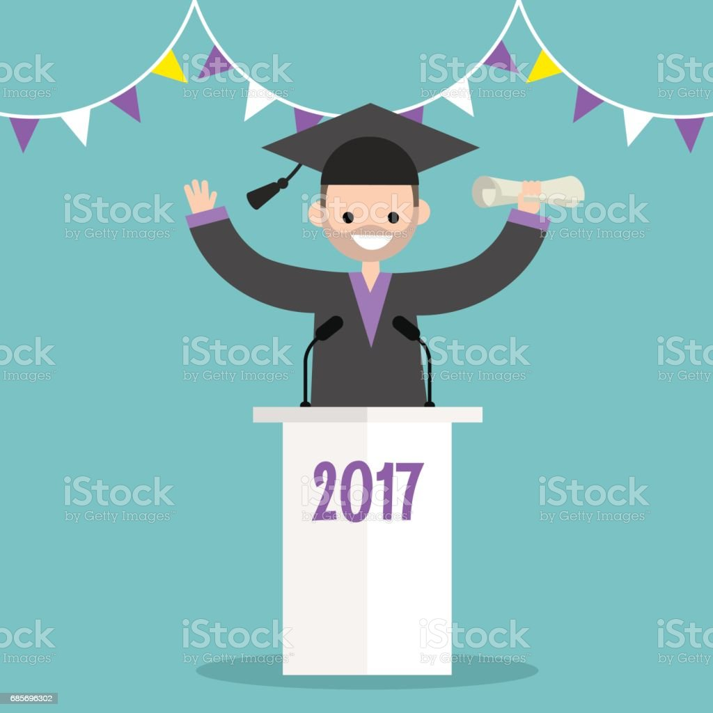 Graduated student wearing a cap and a gown standing behind the tribune / flat editable vector illustration, clip art royalty-free graduated student wearing a cap and a gown standing behind the tribune flat editable vector illustration clip art stock vector art & more images of academy awards
