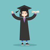 Graduated student wearing cap and gown