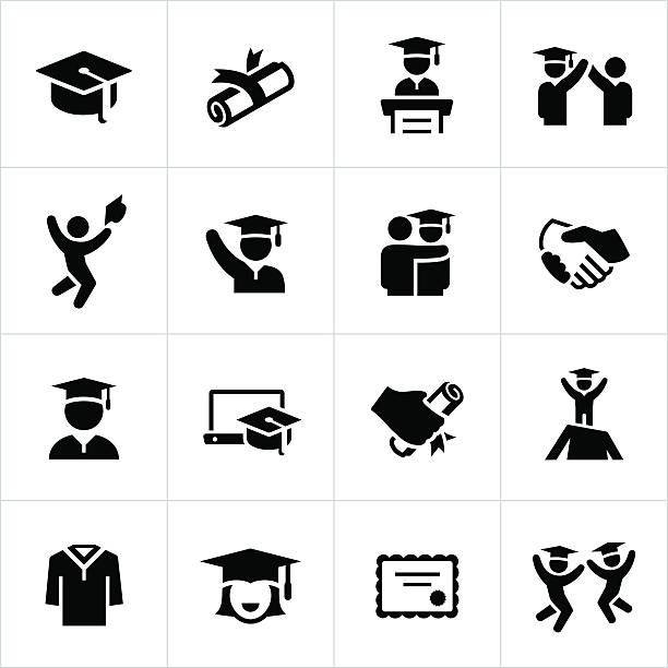 Graduates and Graduation Icons Graduates and graduation ceremony related icons. The icons contain individual graduates, commencement speeches, diplomas and other graduation themed symbols. students stock illustrations