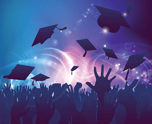 Graduates Celebrating vector art illustration