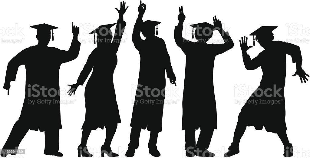 Graduates Dancing vector art illustration