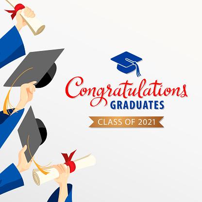 Graduates Holding Graduation Caps & Certificates