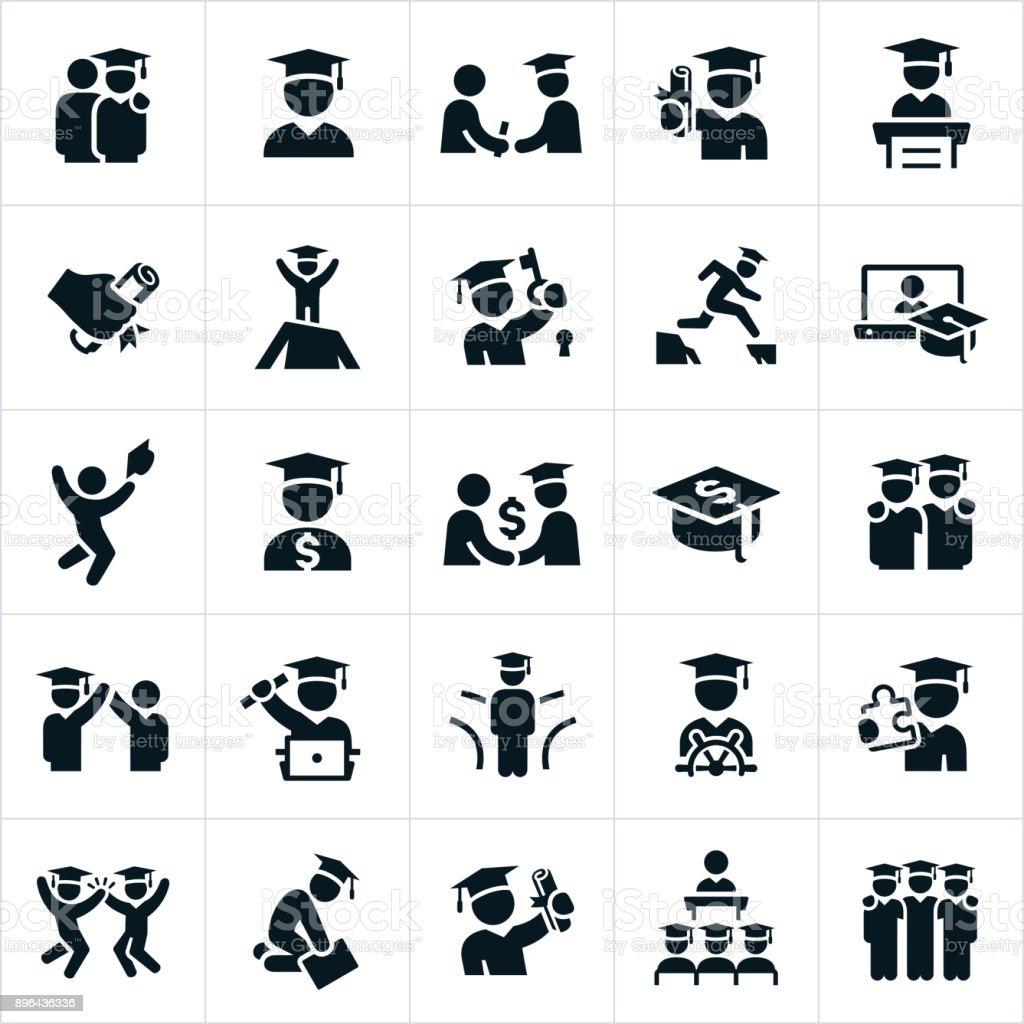 Ícones de graduados - ilustração de arte em vetor