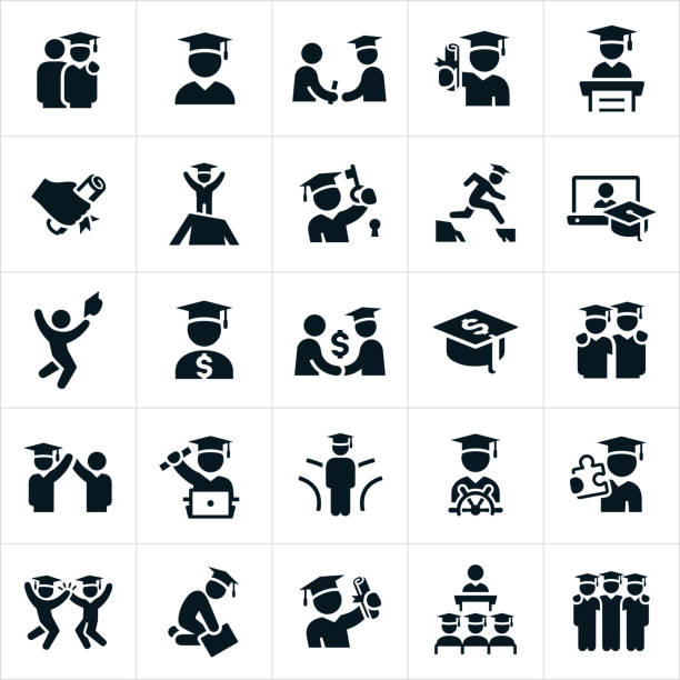 Graduates Icons As set of icons showing graduates symbolizing many different concepts and in different situations. students stock illustrations
