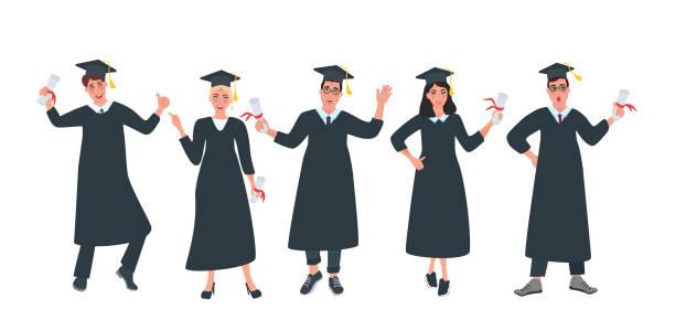 absolventen mit diplomen - kanzlerin stock-grafiken, -clipart, -cartoons und -symbole