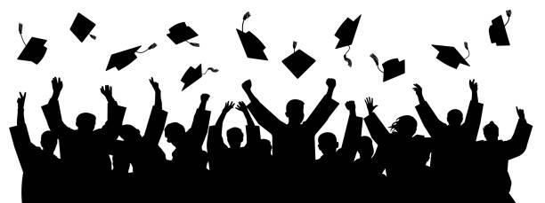 ilustraciones, imágenes clip art, dibujos animados e iconos de stock de graduados lanzando gorra. silueta de altos logros. vector de sombrero de estudiante de escuela - graduación
