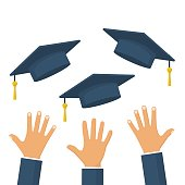 Graduates throwing graduation hats in the air