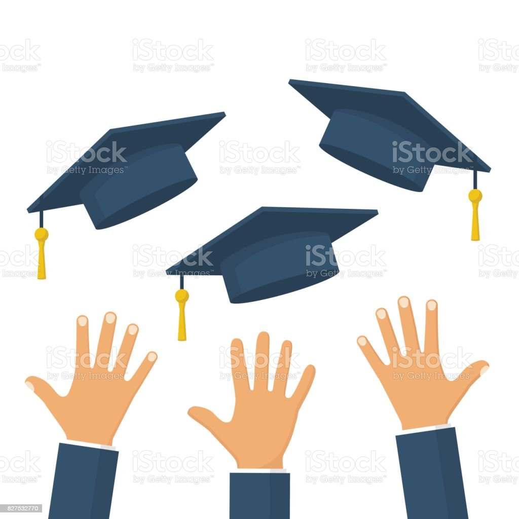 Graduates throwing graduation hats in the air vector art illustration