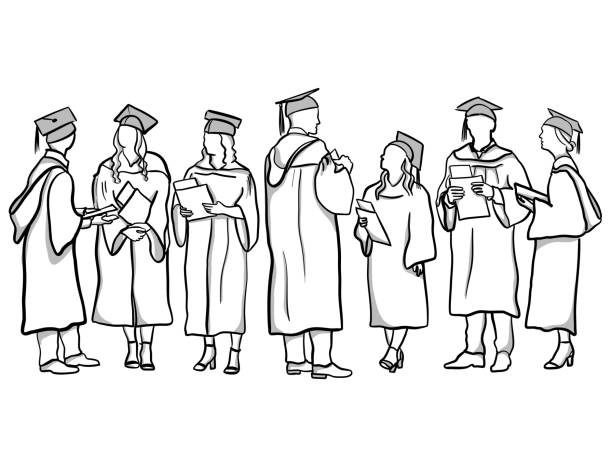 Graduates vector art illustration