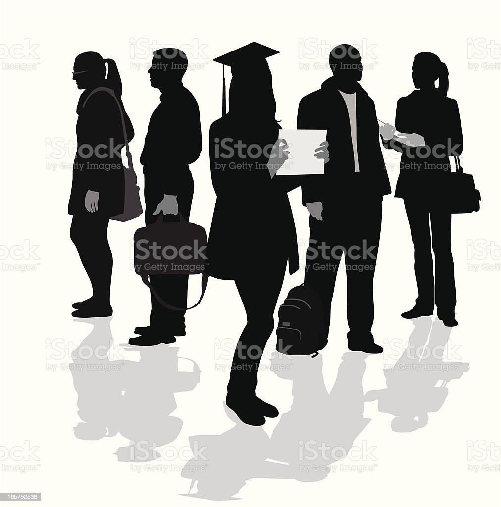 Graduates Vector Silhouette royalty-free graduates vector silhouette stock vector art & more images of adult