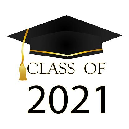 Graduating class 2021. Vector illustration for student graduation. Graduation cap. Stock image. EPS 10