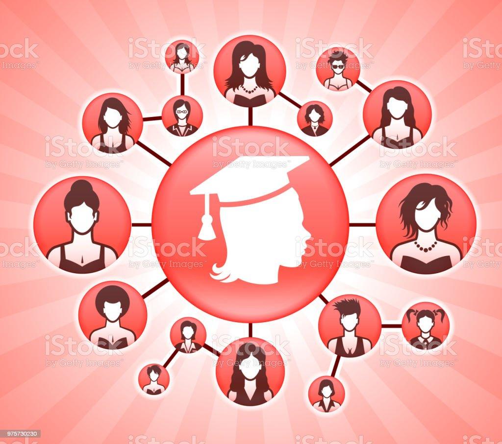 03c283b20 Graduación mujeres derechos de la mujer rosa fondo Vector ilustración de graduación  mujeres derechos de la
