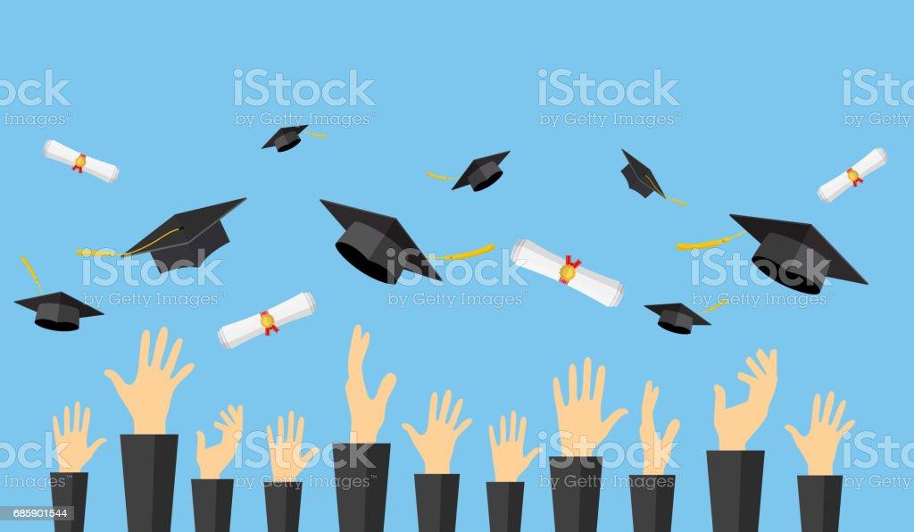 Estudiantes graduados de las manos del alumno - ilustración de arte vectorial