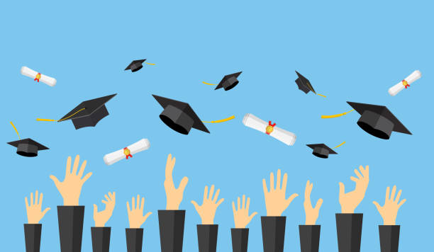 Graduating students of pupil hands vector art illustration