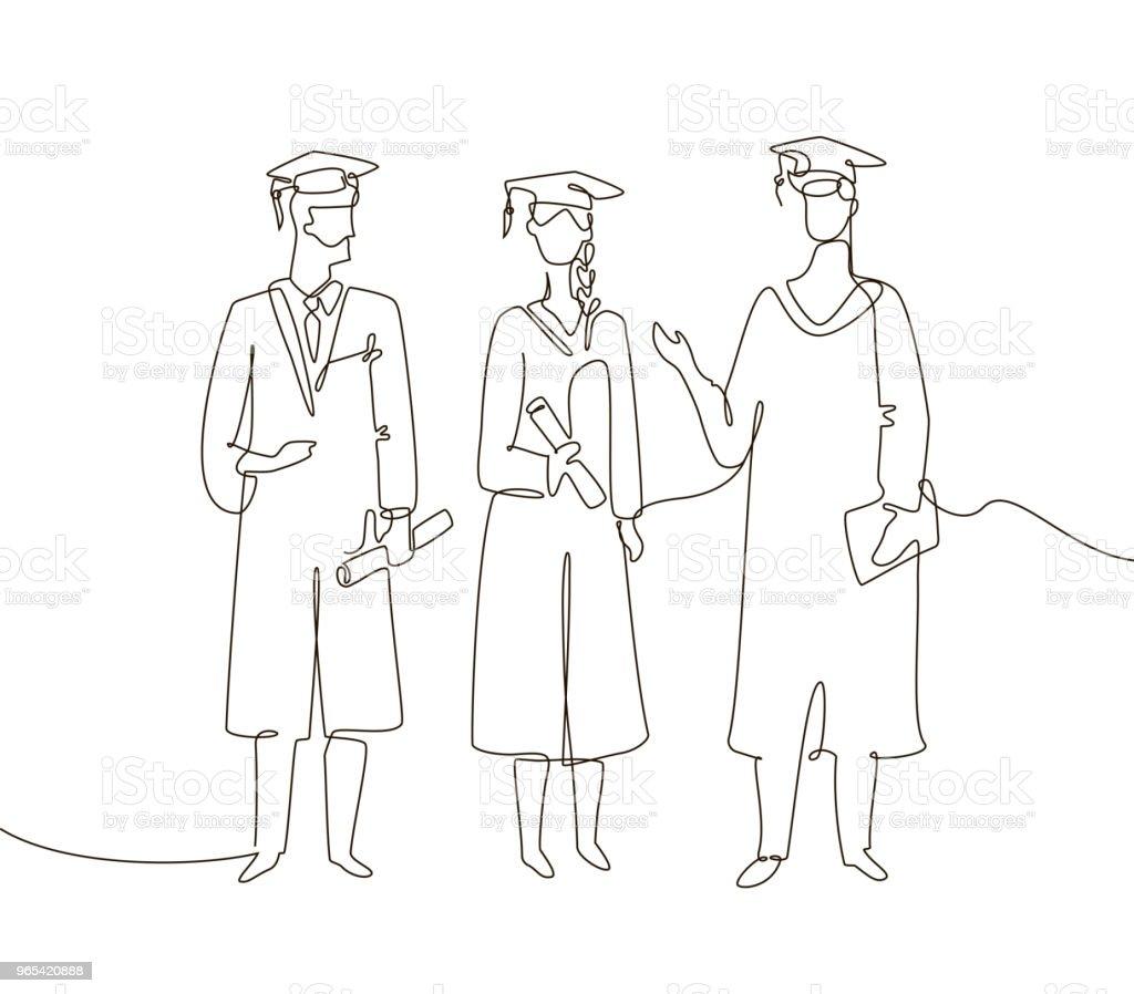 Graduating students - one line design style illustration graduating students one line design style illustration - stockowe grafiki wektorowe i więcej obrazów ciągłość royalty-free