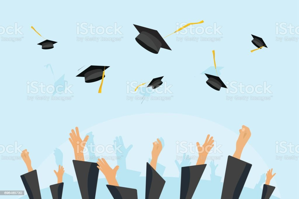 Graduating students or pupil hands in gown throwing graduation caps in the air, flying academic hats, throw mortar boards in the sky flat cartoon vector illustration