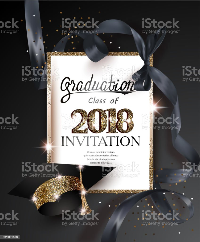 Graduation 2018 party invitation card with hat and long black silk ribbon. Vector illustration vector art illustration