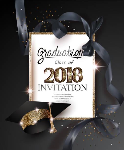 ilustrações, clipart, desenhos animados e ícones de graduação 2018 cartão de convite de festa com chapéu e fita de seda preta longo. ilustração vetorial - baile de graduação