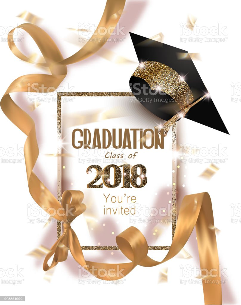 Graduation 2018 party invitation card with hat and long gold silk ribbon and confetti. Vector illustration vector art illustration