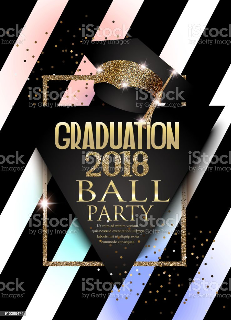 Graduation 2018 party invitation card with hat, golden frame  and striped background. Vector illustration vector art illustration