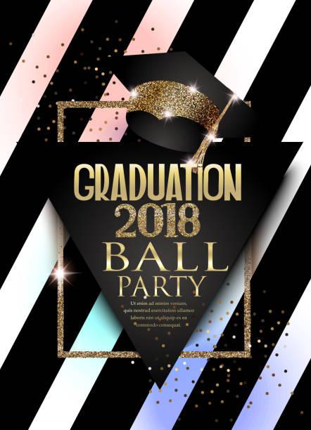ilustrações, clipart, desenhos animados e ícones de graduação 2018 cartão de convite de festa com chapéu, moldura dourada e fundo listrado. ilustração vetorial - baile de graduação