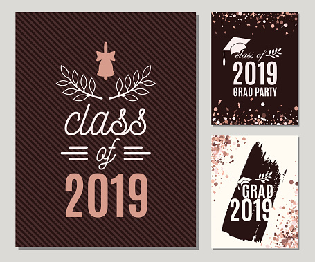 Graduation 2019 greeting cards set in rose gold colors. Three vector grad party invitations. Class off Grad posters. All isolated and layered