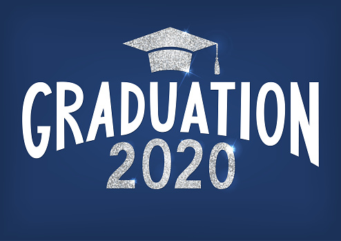 Graduation 2020. Lettering with silver glitter cap and year