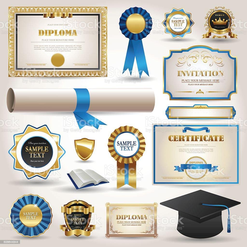 Graduaciones y certificado diploma elementos Aislado en blanco - ilustración de arte vectorial