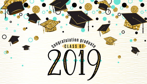 Graduation background class of 2019 with graduate cap, black and gold color, glitter dots on a white golden line striped backdrop. Hat thrown up. Vector illustration vector art illustration
