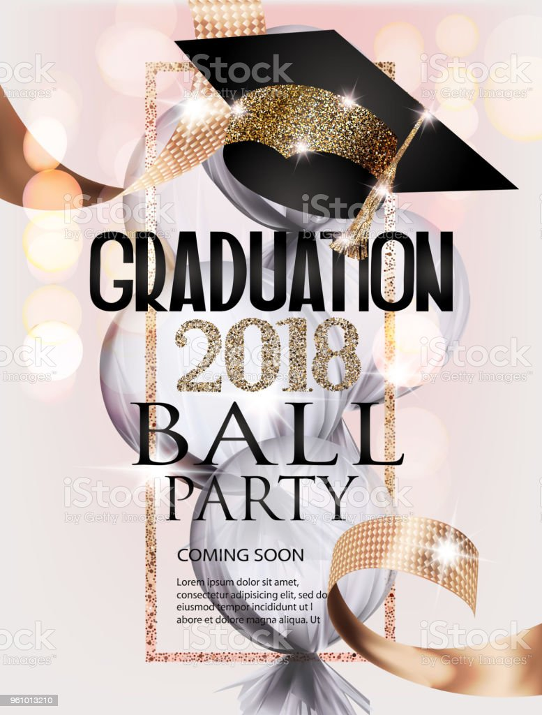 Graduation Ball Invitation Card With Gold Graduation Cap Frame And ...