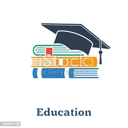 Graduation cap and books. The concept education. Stack of books, cap, hat. Vector.