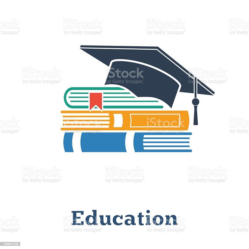 卒業キャップとブックます。コンセプトは教育です。スタックの書籍、 ベクターアートイラスト