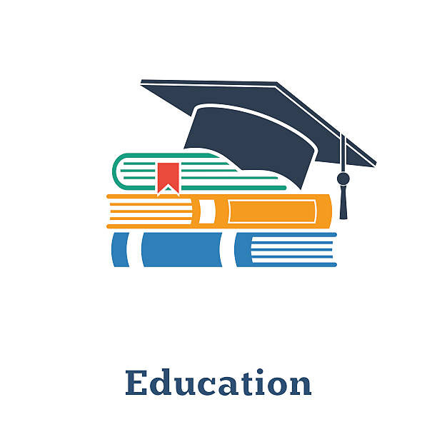 Graduation cap and books. The concept education. Stack of books, vector art illustration
