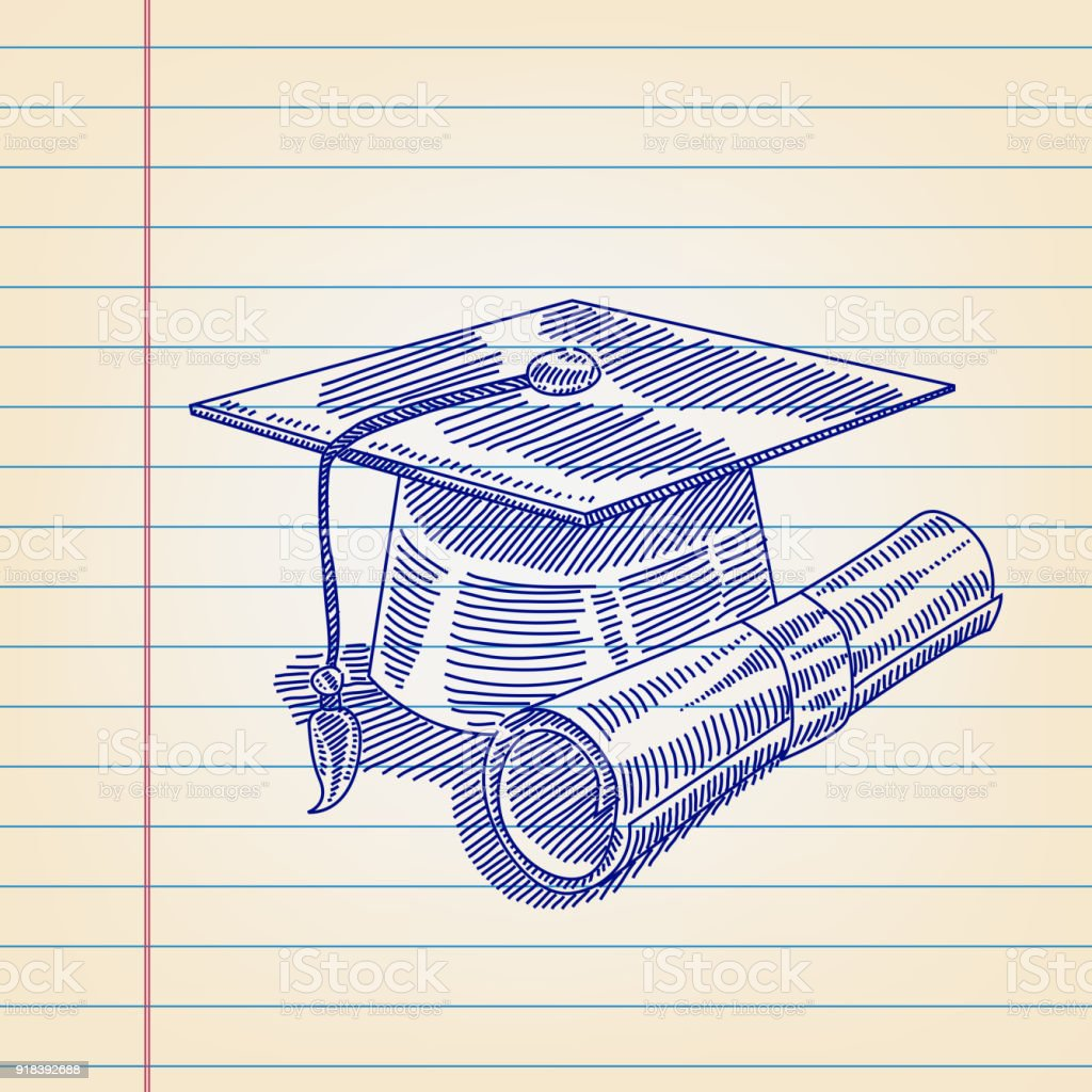 graduation cap and certificate drawing on lined paper stock vector