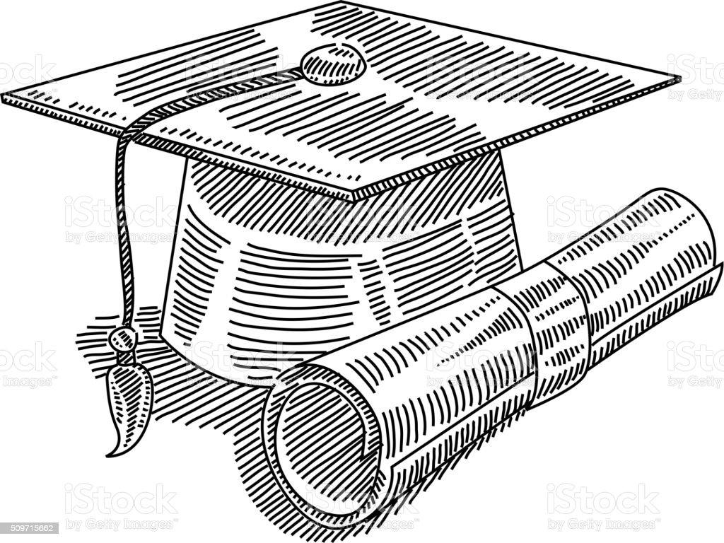 Ilustración De Tapa De Graduación Y Certificado De Dibujo Y Más