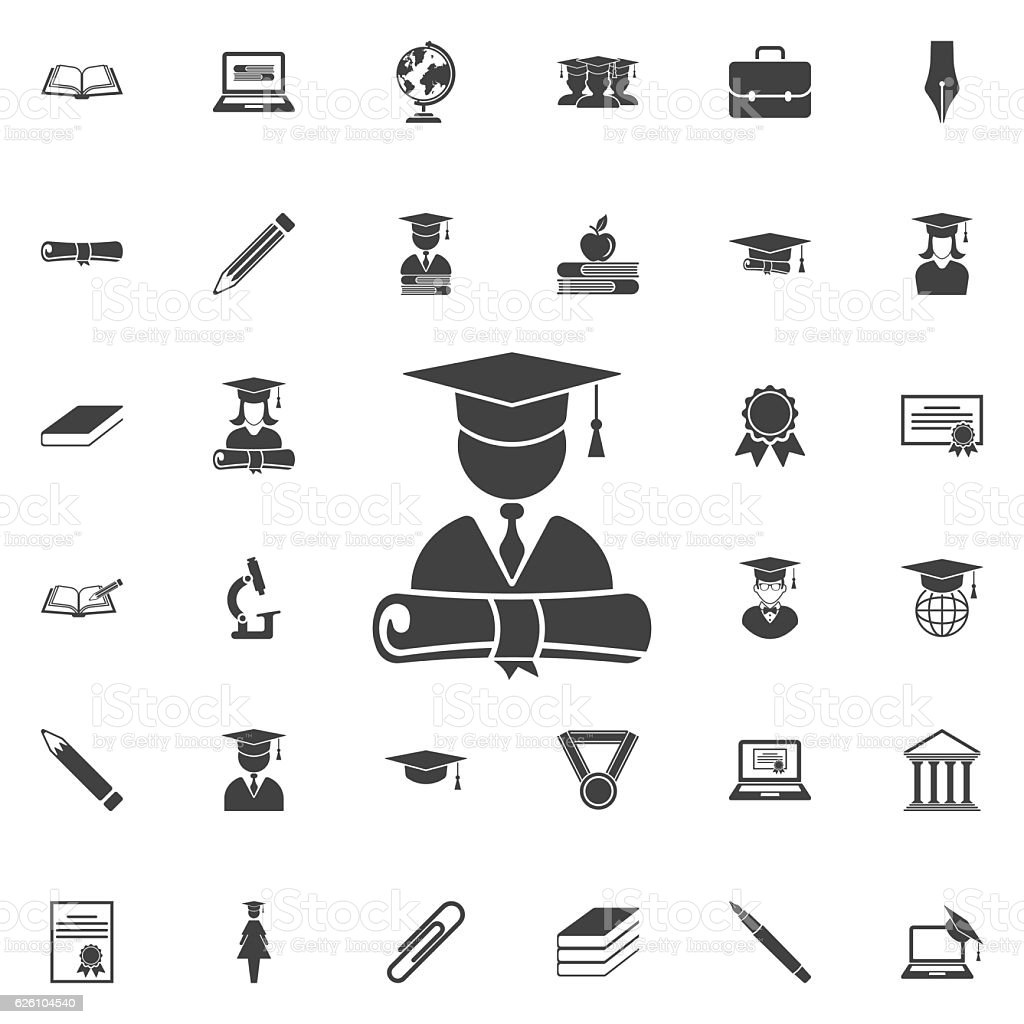graduation cap and diploma icon – Vektorgrafik